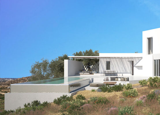 Luxury Villas, built according to Cycladic Architecture, combine comfort and luxury for the most demanding customers